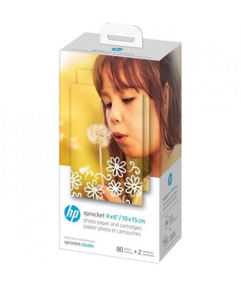 HP Sprocket Studio 4x6  - Papier Photo format 10x15cm et cartouches HP - Pack de 80 feuilles - Finition glacée - 240 g/m²