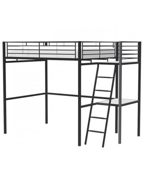 Lit mezzanine avec bureau en métal époxy - Noir - Sommier inclus - 140x190 cm - OXFORD