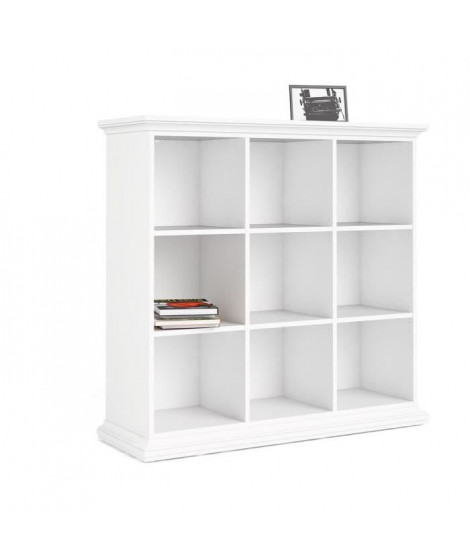 Bibliotheque 3x3 cases - Blanc - L 125,4 x P 41,6 x H 119,9 cm