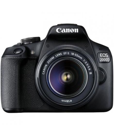 CANON - Appareil photo Reflex EOS 2000D + Objectif 18-55mm EF-S 18-55 DC III - 24 Mpixels - Vidéo Full HD 1080p - Ecran 7,5cm