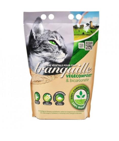 TRANQUILLE Litiere végétale végécompost et biocarbonate pour chat - 4 l