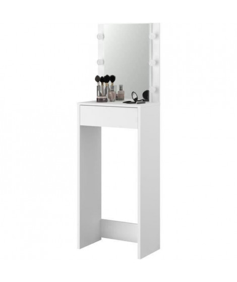 CANDY Coiffeuse haute avec miroir LED - Décor blanc - L 54,5 x P 31 x H 170 cm