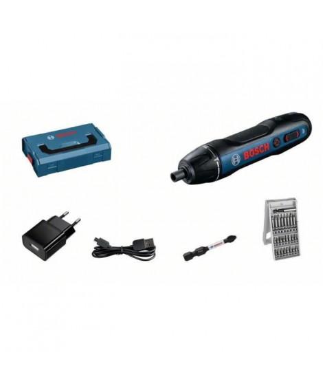 Visseuse 3,6V GO BOSCH PROFESSIONAL 2.0 Mini L-Boxx + 25 accessoires + adaptateur de charge + câble USB
