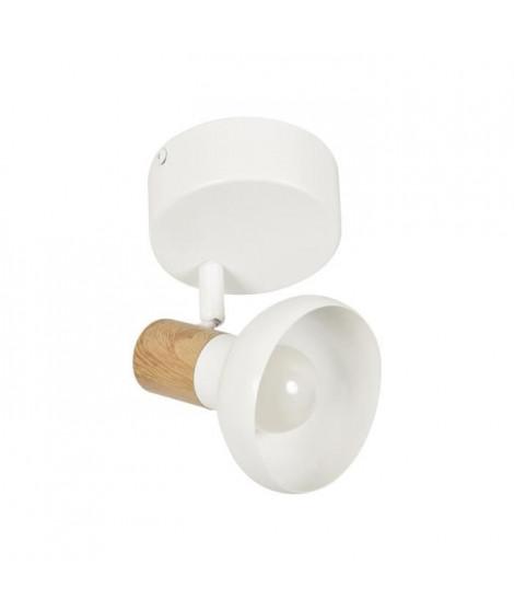 COREP Spot 1L Alvar bicolore en métal avec sticker effet bois - E14 40 W - Blanc et naturel