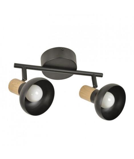 COREP Spot 2L Alvar bicolore en métal avec sticker effet bois - E14 40 W - Noir et naturel