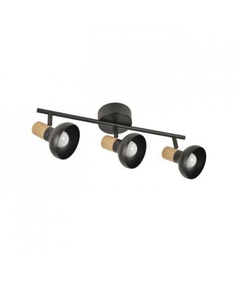 COREP Spot 3L Alvar bicolore en métal avec sticker effet bois - E14 40 W - Noir et naturel