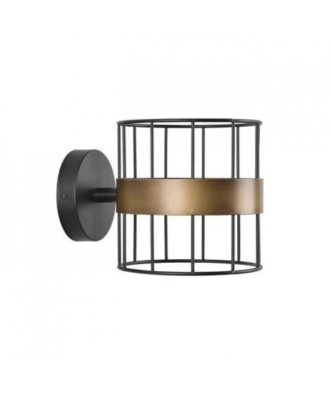 COREP Applique Raw base ronde en métal peint - E14 40 W - Noir mat et bonze patiné