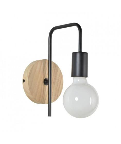 COREP Applique Berkley base ronde en bois naturel patiné et métal peint - E27 40 W - Noir