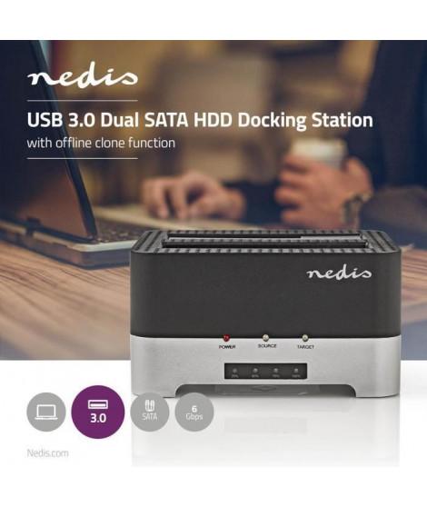 NEDIS Station d'Accueil pour Disque Dur - USB 3.0 - Double SATA - 2,5/3,5 - Avec Fonction de Clone Hors Ligne (HDDUDB3300BK)