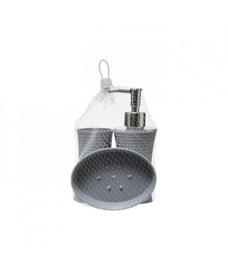 Lot de 3 accessoires de salle de bain - 200ml - Gris