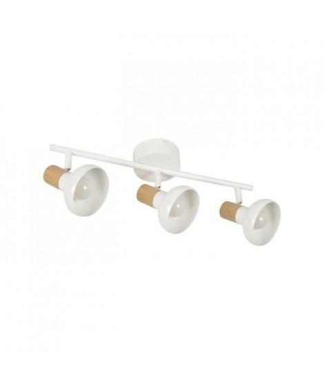 COREP Spot 3L Alvar bicolore en métal avec sticker effet bois - E14 40 W - Blanc et naturel