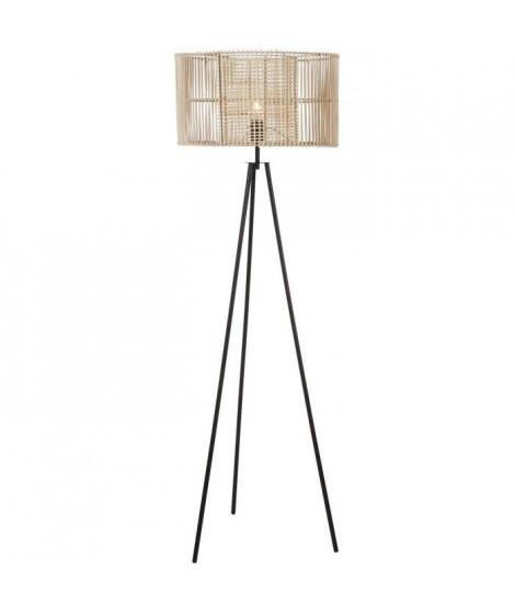 Lampadaire rotin pied métal - 48x150 cm - Abajour : 50x50x28,8 cm