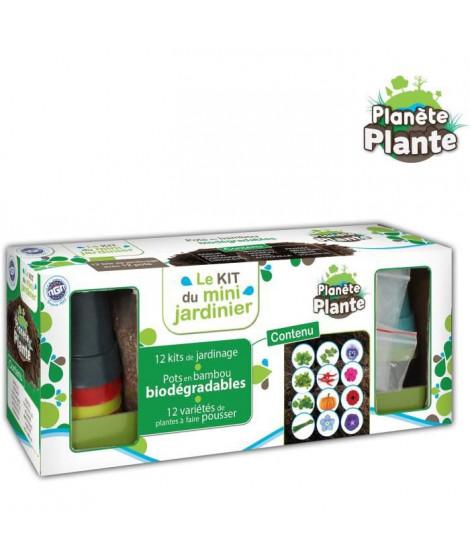 MGM Kit De Jardinage - 12 Pots en Bamboo avec Graines et Substrats