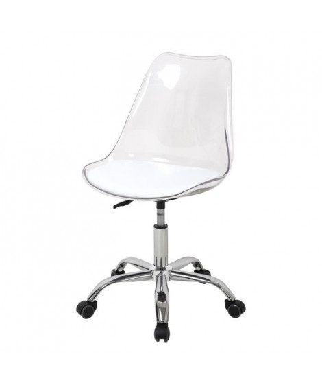 Chaise de bureau - Coque transparente et coussin blanc - L 52 x P 52 x H 88 cm - RONNY