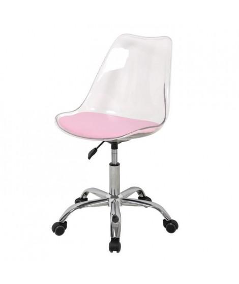 Chaise de bureau - Coque transparente et coussin rose - L 52 x P 52 x H 88 cm - RONNY