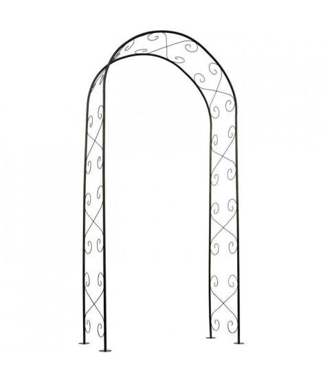 NATURE Pergola acier galvanisé laqué époxy noir décor volutes - H230 x 100 x 37 cm