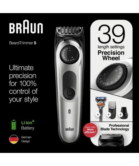 Braun BT5260 Tondeuse barbe et cheveux pour homme - 39 longueurs - 100min de tonte sans fil - 1h de charge - Noir/Argent méta…