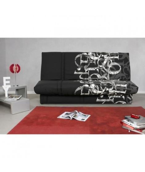 Banquette clic clac 120 x 190 cm - Tissu noir et blanc - L 195 x P 90 x H 84 cm - RANDY