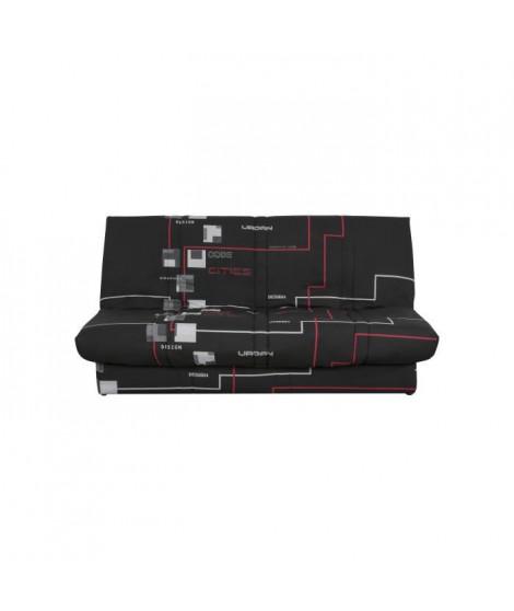 Banquette clic clac 120 x 190 cm - Tissu noir - L 195 x P 90 x H 84 cm - DIOPLAC