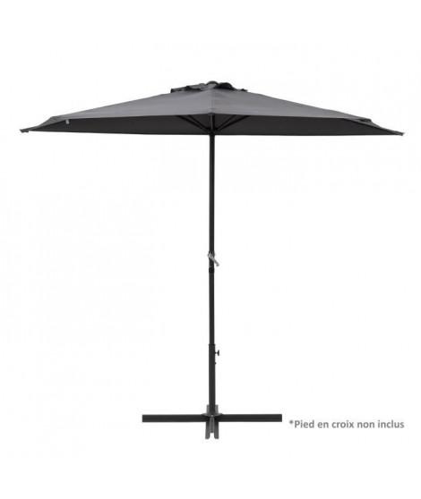 Demi Parasol de balcon 270 cm - Pied non inclus - Structure acier et toile polyester 180g/m2 - Gris