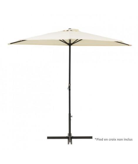 Demi Parasol de balcon 270 cm - Pied non inclus - Structure acier et toile polyester 180g/m2 - Beige