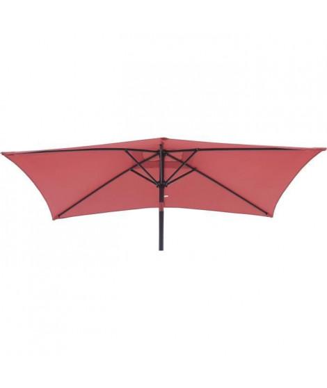 Parasol droit rectangulaire 1,4 x 2,10 m - inclinable & avec manivelle - Mat aluminium et toile polyester 160g - Rouge