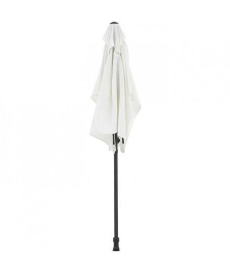 Parasol droit rectangulaire 1,4 x 2,10 m - inclinable & avec manivelle - Mat aluminium et toile polyester 160g - Blanc