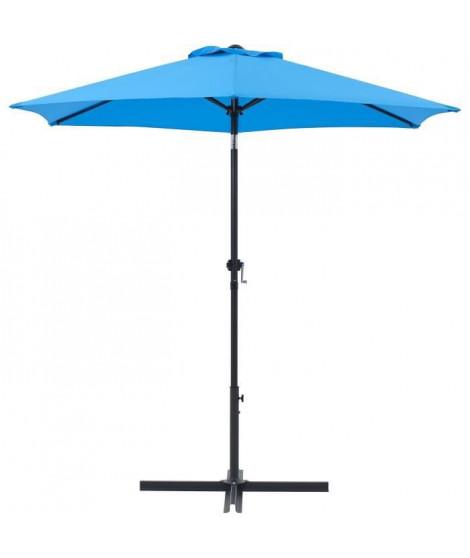 Parasol droit rond diam 2,5 m - inclinable & avec manivelle - Mât aluminium et toile polyester 160g - Bleu