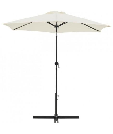 Parasol droit rond diam 2,5 m - inclinable & avec manivelle - Mât aluminium et toile polyester 160g - Ecru