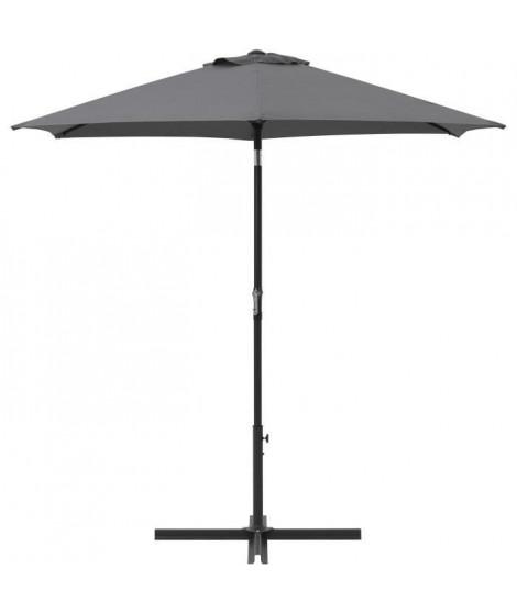 Parasol droit rond diam 2,5 m - inclinable & avec manivelle - Mât aluminium et toile polyester 160g - Gris