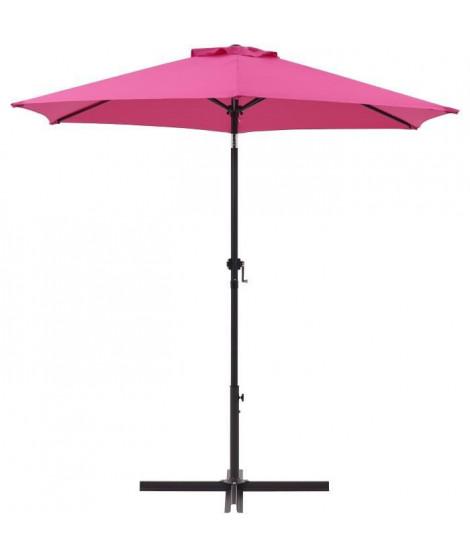 Parasol droit rond diam 2,5 m - inclinable & avec manivelle - Mât aluminium et toile polyester 160g - Rose
