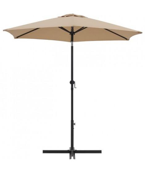 Parasol droit rond diam 2,5 m - inclinable & avec manivelle - Mât aluminium et toile polyester 160g - Taupe