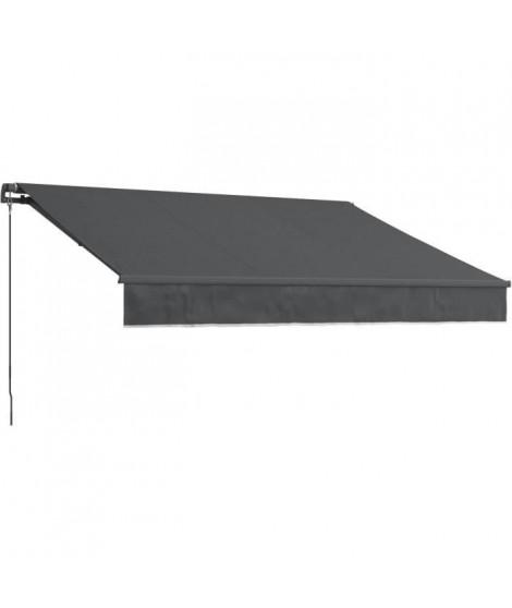BEAURIVAGE Store banne manuel 4 x 3 m sans coffre - toile grise anthracite avec structure grise anthracite
