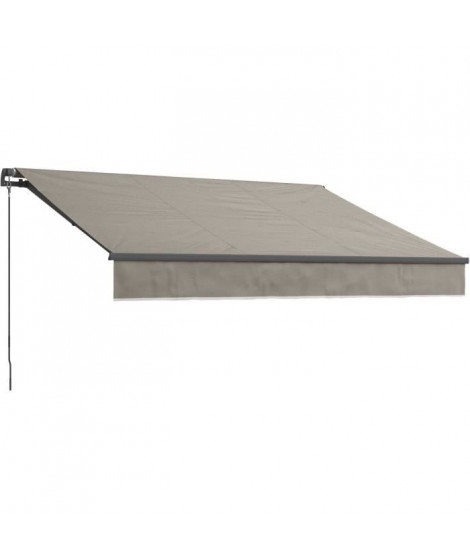 BEAURIVAGE Store banne manuel 4 x 3 m sans coffre - toile taupe avec structure grise anthracite