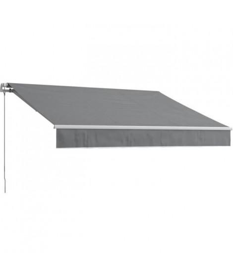 BEAURIVAGE Store banne manuel 4 x 3 m sans coffre - toile grise avec structure blanche