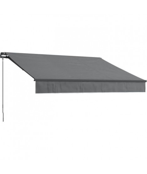 BEAURIVAGE Store banne manuel 4 x 3 m sans coffre - toile grise avec structure grise anthracite