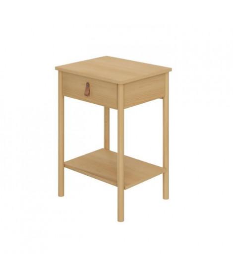 Table de Chevet 1 tiroir - Bois et melamine avec poignée en cuir - L 48 x P 40 x H 69 cm