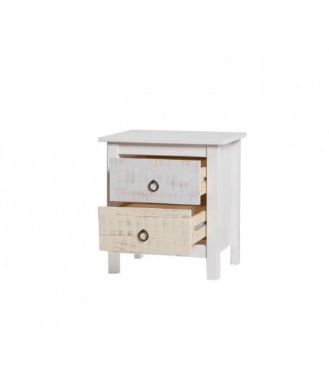 Chevet 2 tiroirs - Décor blanc - L 46 x P 35 x H 49,5 cm - FLORA