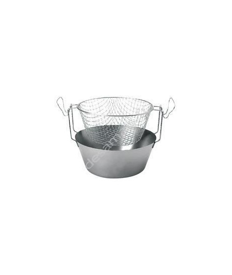 ARTAME Friteuse avec panier en inox - Fond thermique - Ø 24 cm - Gris