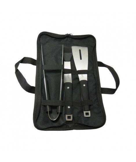 JEAN DUBOST Sacoche noire plancha : pince, pinceau et spatule - Inox