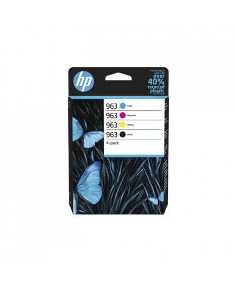 HP 963 pack de 4 cartouches d'encre authentiques, noir/cyan/magenta/jaune (6ZC70AE) pour imprimantes HP OfficeJet Pro 9010 / …