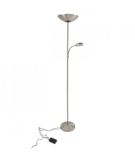COREP Lampadaire en métal liseuse flexible - Ø28cm - Alu brossé