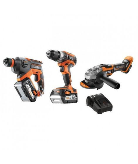 AEG Pack 3 outils sans fil Pro18V - perceuse a percussion, perforateur brushless, meuleuse brushless - 2 batteries de 4Ah