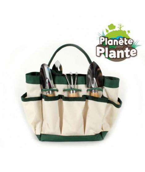 PLANETE PLANTE Sac de jardinage en tissu beige avec outils de jardin : 4 outils et 10 marques plantes