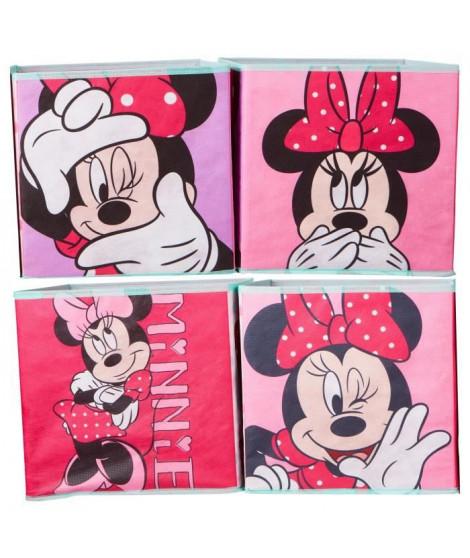 DISNEY MINNIE MOUSE Lot de 4 cubes de rangement et décoratifs