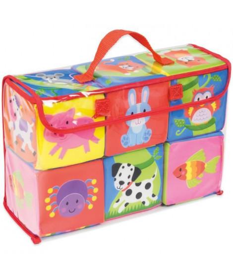 JUMBO 19811 - Soft cubes - Cubes de tissu colorés doux et légers pour presser, lancer et construire
