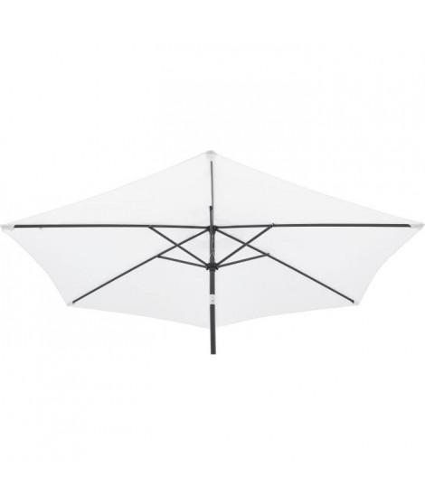 Parasol droit Diam. 3 m – Hauteur ajustable - Mat Aluminium et toile polyester 160g - Blanc