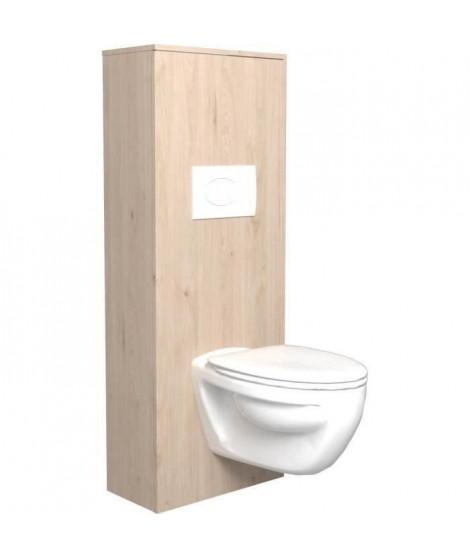 SWEAT Aménagement pour WC - Décor Chene Jackson et blanc mat - L 53 x P 27 x 140 cm