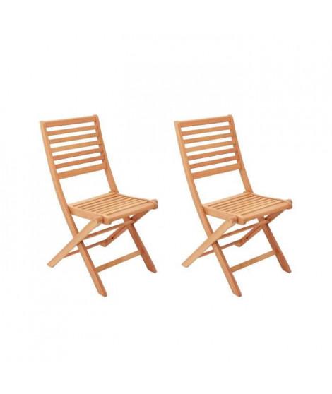Lot de 2 chaises pliantes de jardin en eucalyptus FSC - 57,5x46,5x90cm