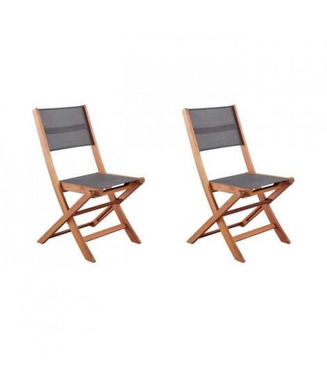Lot de 2 chaises en bois d'acacia FSC et textilene - Gris